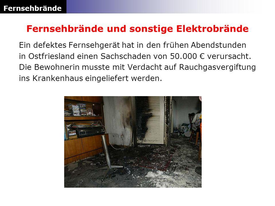 Ein defektes Fernsehgerät hat in den frühen Abendstunden in Ostfriesland einen Sachschaden von 50.000 verursacht. Die Bewohnerin musste mit Verdacht a