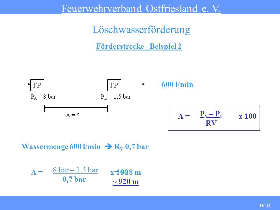 IV. 11 Förderstrecke - Beispiel 2 Feuerwehrverband Ostfriesland e. V. Löschwasserförderung FP 600 l/min P A – P E RV FP P A = 8 barP E = 1,5 bar A = ?