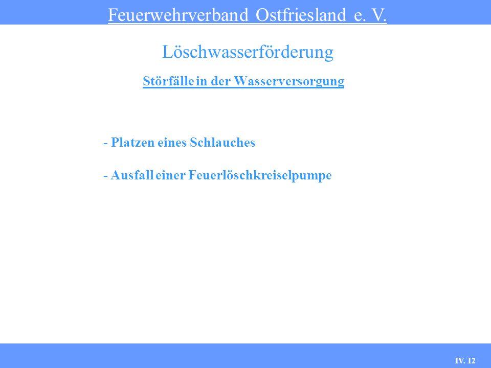 IV. 12 Störfälle in der Wasserversorgung Feuerwehrverband Ostfriesland e. V. Löschwasserförderung - Platzen eines Schlauches - Ausfall einer Feuerlösc