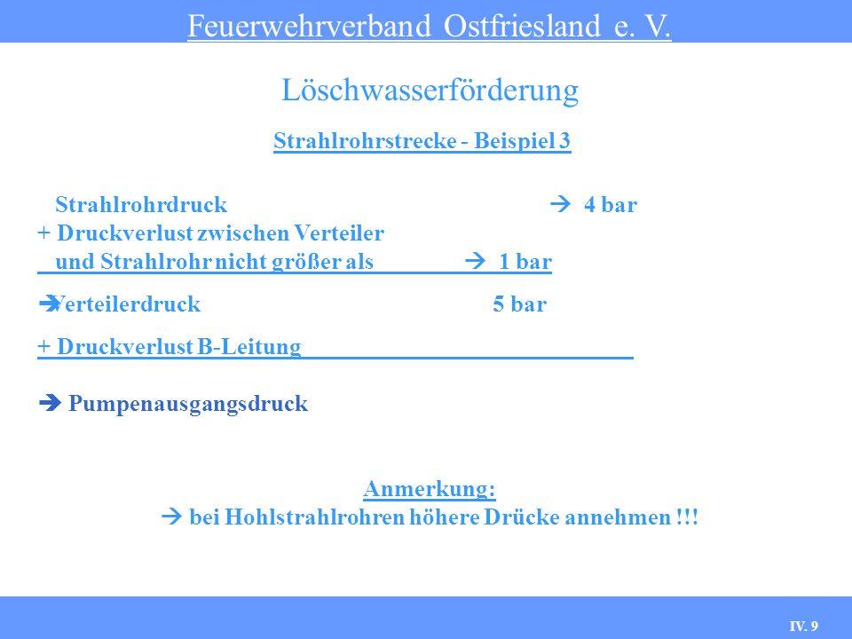 IV. 9 Strahlrohrstrecke - Beispiel 3 Feuerwehrverband Ostfriesland e. V. Löschwasserförderung Strahlrohrdruck 4 bar + Druckverlust zwischen Verteiler