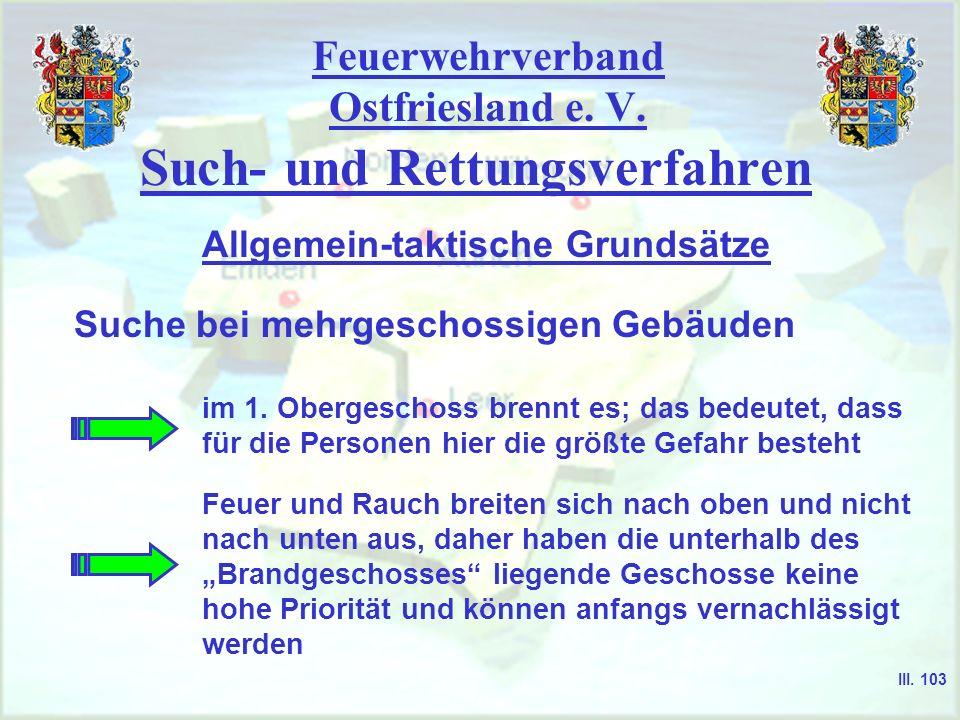 Feuerwehrverband Ostfriesland e. V. Such- und Rettungsverfahren Suche bei mehrgeschossigen Gebäuden Allgemein-taktische Grundsätze III. 103 im 1. Ober
