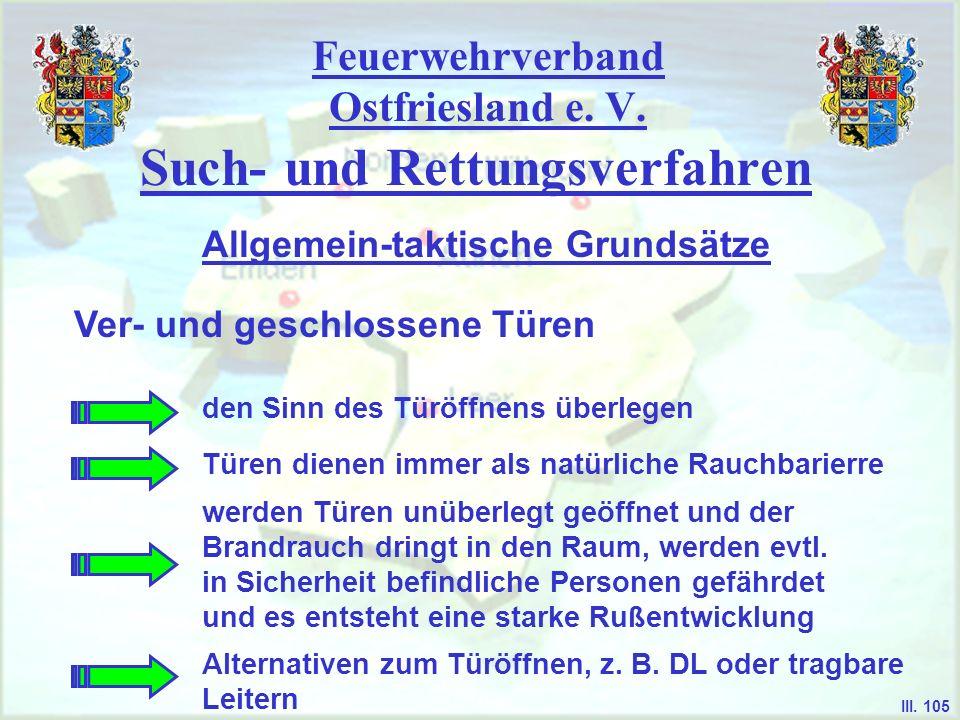 Feuerwehrverband Ostfriesland e. V. Such- und Rettungsverfahren Ver- und geschlossene Türen Allgemein-taktische Grundsätze III. 105 den Sinn des Türöf