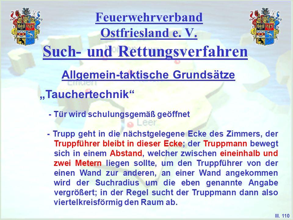 Feuerwehrverband Ostfriesland e. V. Such- und Rettungsverfahren Tauchertechnik Allgemein-taktische Grundsätze III. 110 - Tür wird schulungsgemäß geöff