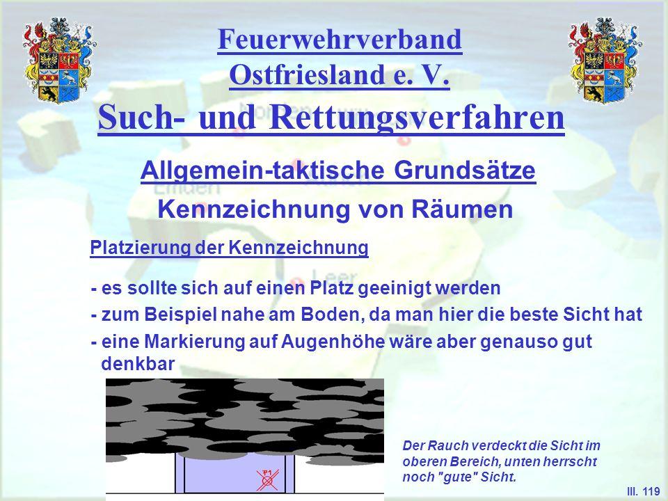 Feuerwehrverband Ostfriesland e. V. Such- und Rettungsverfahren Kennzeichnung von Räumen Allgemein-taktische Grundsätze III. 119 Platzierung der Kennz