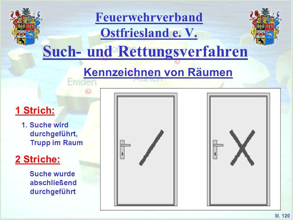 Feuerwehrverband Ostfriesland e. V. Such- und Rettungsverfahren Kennzeichnen von Räumen 1 Strich: 1. Suche wird durchgeführt, Trupp im Raum 2 Striche: