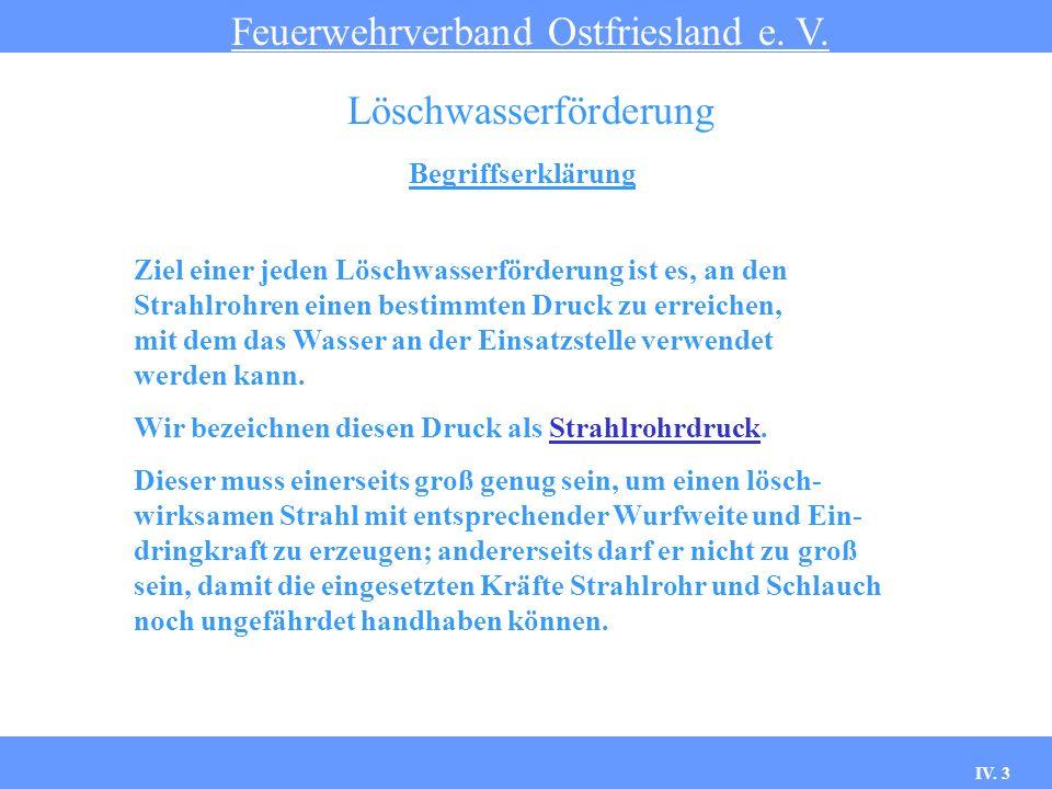 IV. 3 Begriffserklärung Feuerwehrverband Ostfriesland e. V. Löschwasserförderung Ziel einer jeden Löschwasserförderung ist es, an den Strahlrohren ein