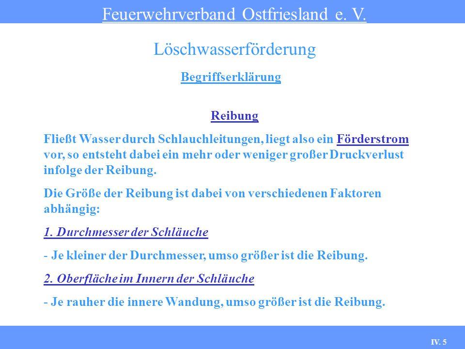 IV. 5 Begriffserklärung Feuerwehrverband Ostfriesland e. V. Löschwasserförderung Reibung Fließt Wasser durch Schlauchleitungen, liegt also ein Förders
