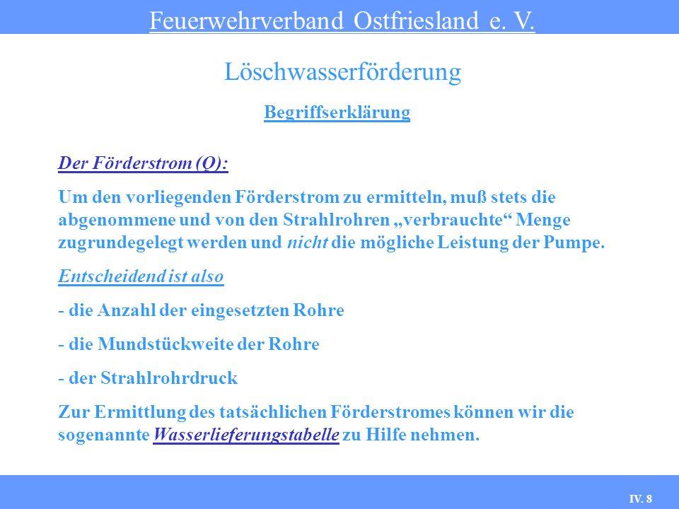 IV. 8 Begriffserklärung Feuerwehrverband Ostfriesland e. V. Löschwasserförderung Der Förderstrom (Q): Um den vorliegenden Förderstrom zu ermitteln, mu
