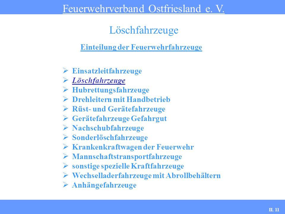 Einteilung der Feuerwehrfahrzeuge Feuerwehrverband Ostfriesland e. V. Löschfahrzeuge Einsatzleitfahrzeuge Löschfahrzeuge Hubrettungsfahrzeuge Drehleit