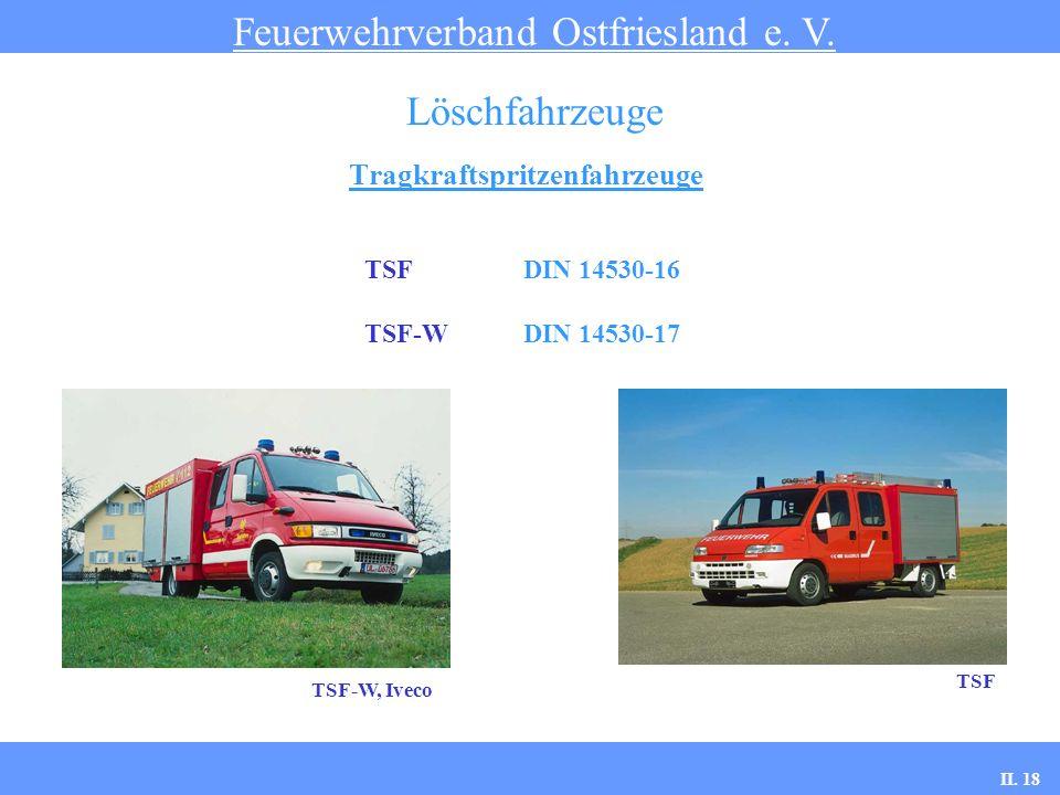 Tragkraftspritzenfahrzeuge Feuerwehrverband Ostfriesland e. V. Löschfahrzeuge TSF DIN 14530-16 TSF-W DIN 14530-17 TSF TSF-W, Iveco II. 18