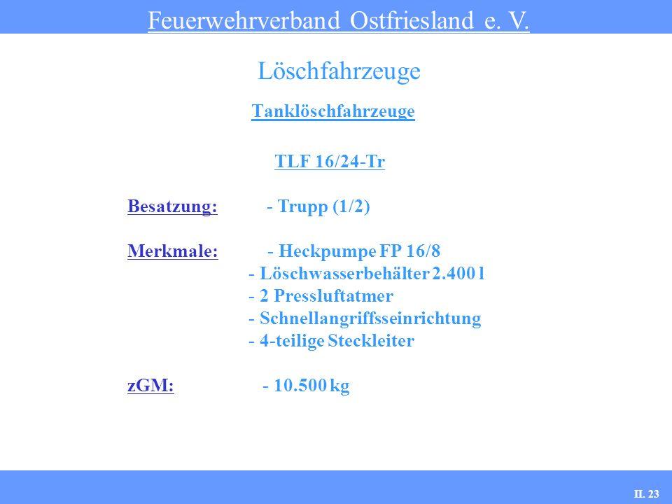 Tanklöschfahrzeuge Feuerwehrverband Ostfriesland e. V. Löschfahrzeuge TLF 16/24-Tr Besatzung: - Trupp (1/2) Merkmale: - Heckpumpe FP 16/8 - Löschwasse