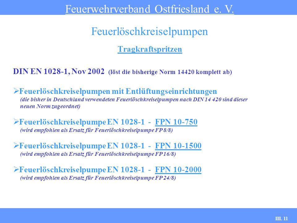 III. 11 Tragkraftspritzen Feuerwehrverband Ostfriesland e. V. Feuerlöschkreiselpumpen DIN EN 1028-1, Nov 2002 (löst die bisherige Norm 14420 komplett