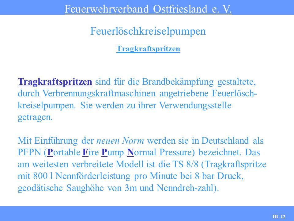 III. 12 Tragkraftspritzen Feuerwehrverband Ostfriesland e. V. Feuerlöschkreiselpumpen Tragkraftspritzen sind für die Brandbekämpfung gestaltete, durch