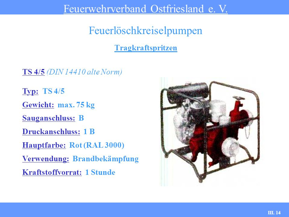 III. 14 Tragkraftspritzen Feuerwehrverband Ostfriesland e. V. Feuerlöschkreiselpumpen TS 4/5 (DIN 14410 alte Norm) Typ: TS 4/5 Gewicht: max. 75 kg Sau