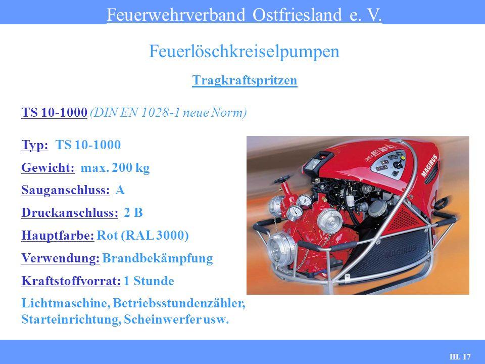III. 17 Tragkraftspritzen Feuerwehrverband Ostfriesland e. V. Feuerlöschkreiselpumpen TS 10-1000 (DIN EN 1028-1 neue Norm) Typ: TS 10-1000 Gewicht: ma