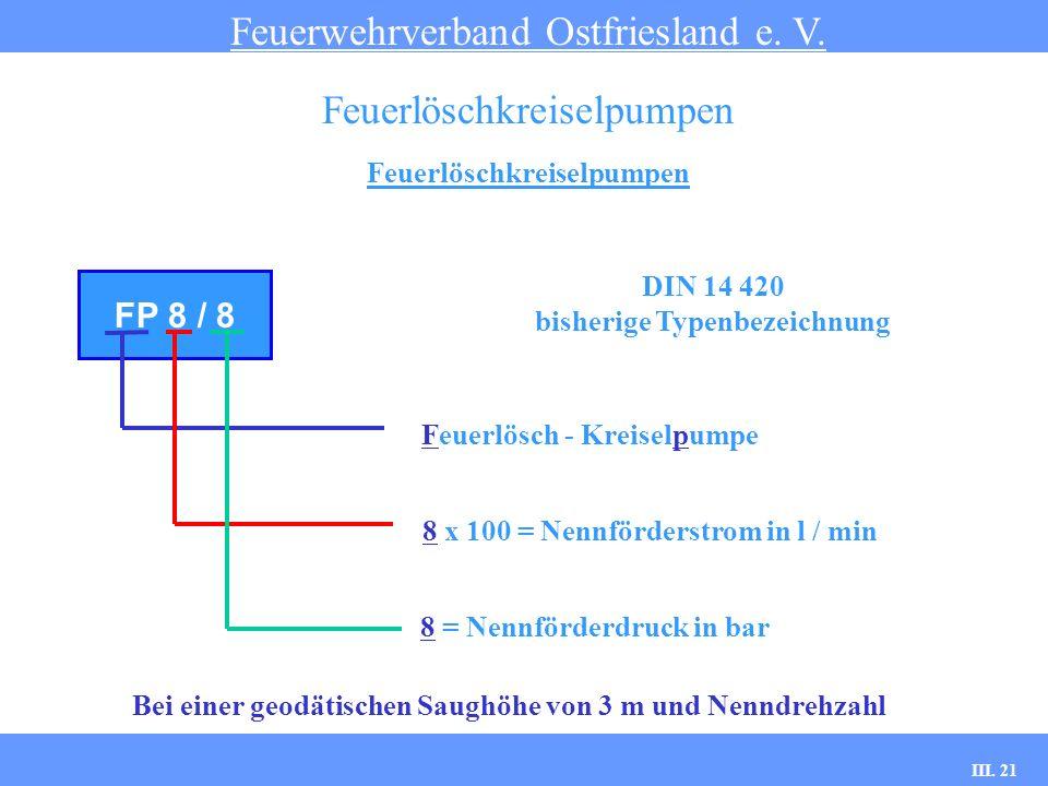 III. 21 Feuerlöschkreiselpumpen Feuerwehrverband Ostfriesland e. V. Feuerlöschkreiselpumpen FP 8 / 8 Feuerlösch - Kreiselpumpe 8 x 100 = Nennförderstr