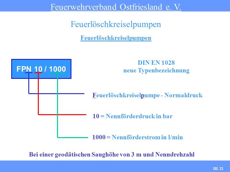 III. 22 Feuerlöschkreiselpumpen Feuerwehrverband Ostfriesland e. V. Feuerlöschkreiselpumpen FPN 10 / 1000 Feuerlöschkreiselpumpe - Normaldruck 10 = Ne