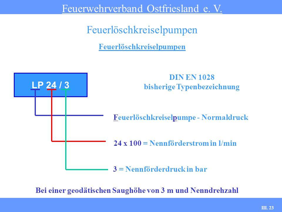 III. 23 Feuerlöschkreiselpumpen Feuerwehrverband Ostfriesland e. V. Feuerlöschkreiselpumpen LP 24 / 3 Feuerlöschkreiselpumpe - Normaldruck 24 x 100 =