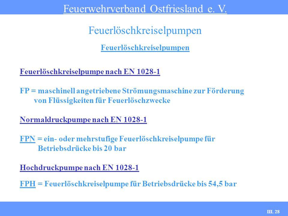 III. 28 Feuerlöschkreiselpumpen Feuerwehrverband Ostfriesland e. V. Feuerlöschkreiselpumpen Feuerlöschkreiselpumpe nach EN 1028-1 FP = maschinell ange