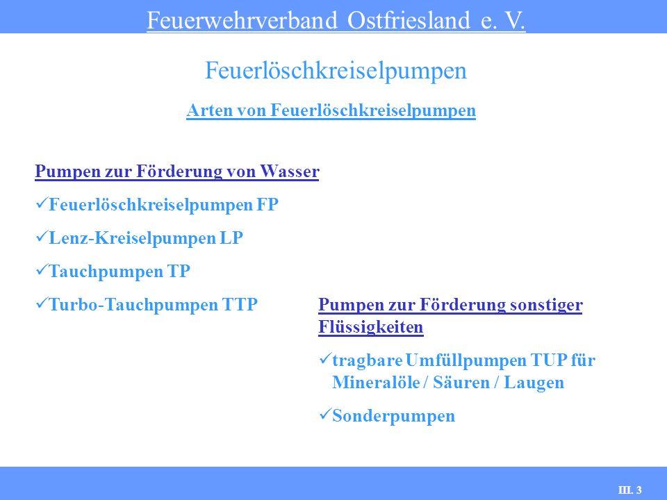 III. 3 Arten von Feuerlöschkreiselpumpen Feuerwehrverband Ostfriesland e. V. Feuerlöschkreiselpumpen Pumpen zur Förderung sonstiger Flüssigkeiten trag