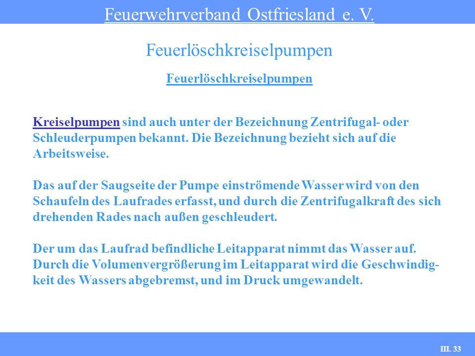 III. 33 Feuerlöschkreiselpumpen Feuerwehrverband Ostfriesland e. V. Feuerlöschkreiselpumpen Kreiselpumpen sind auch unter der Bezeichnung Zentrifugal-