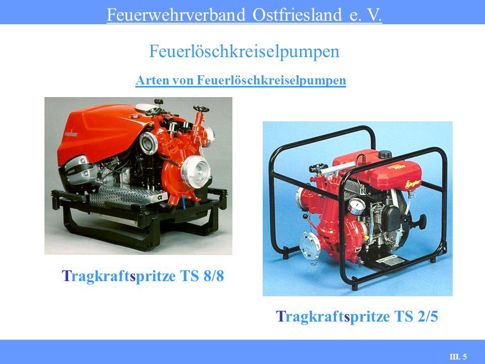 III. 5 Arten von Feuerlöschkreiselpumpen Feuerwehrverband Ostfriesland e. V. Feuerlöschkreiselpumpen Tragkraftspritze TS 8/8 Tragkraftspritze TS 2/5