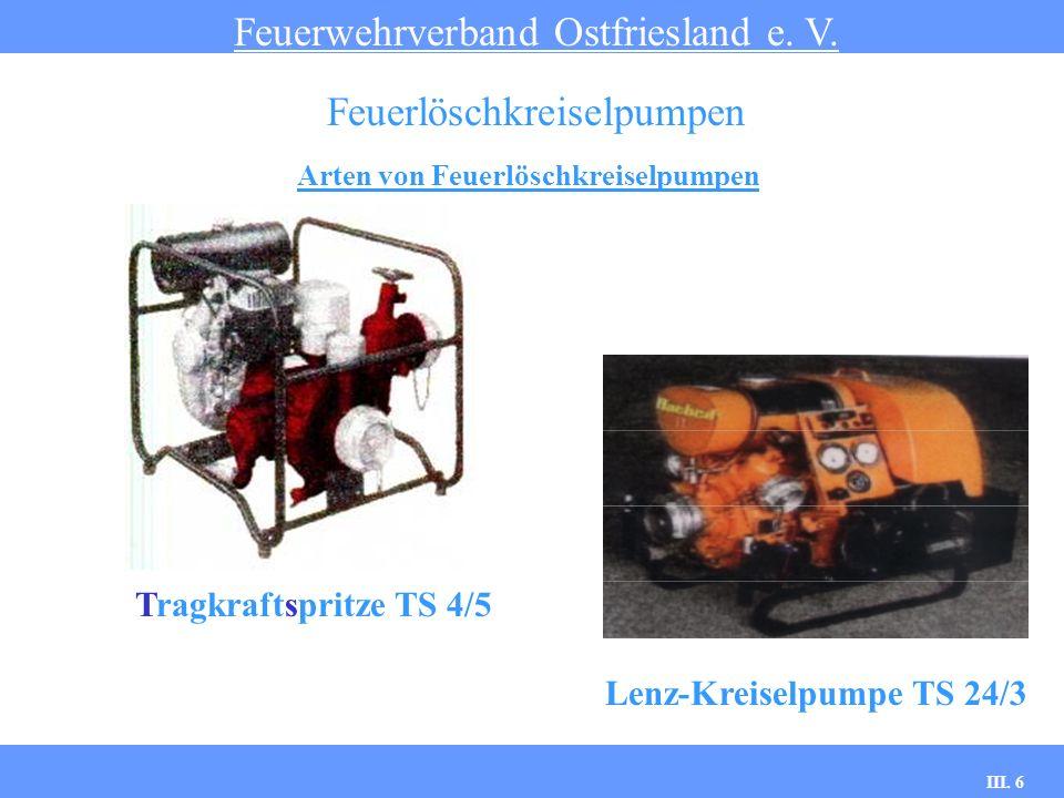 III. 6 Arten von Feuerlöschkreiselpumpen Feuerwehrverband Ostfriesland e. V. Feuerlöschkreiselpumpen Tragkraftspritze TS 4/5 Lenz-Kreiselpumpe TS 24/3