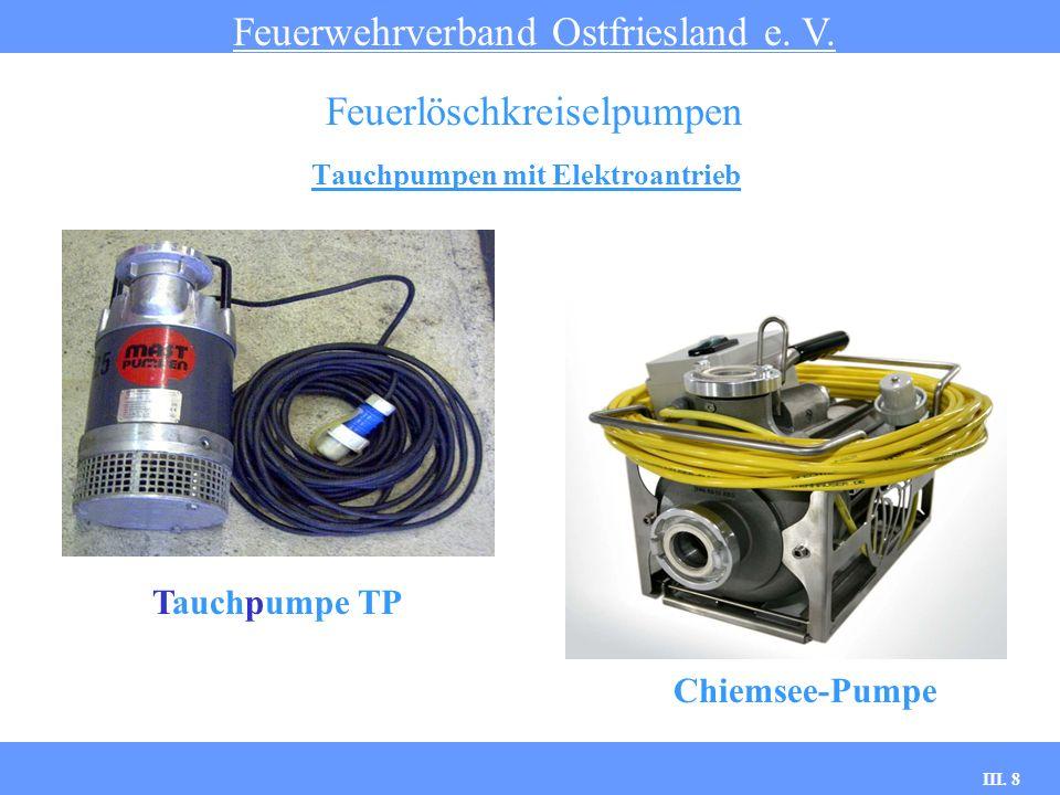 III. 8 Tauchpumpen mit Elektroantrieb Feuerwehrverband Ostfriesland e. V. Feuerlöschkreiselpumpen Tauchpumpe TP Chiemsee-Pumpe