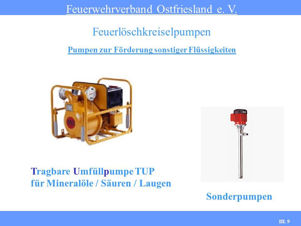 III. 9 Pumpen zur Förderung sonstiger Flüssigkeiten Feuerwehrverband Ostfriesland e. V. Feuerlöschkreiselpumpen Tragbare Umfüllpumpe TUP für Mineralöl