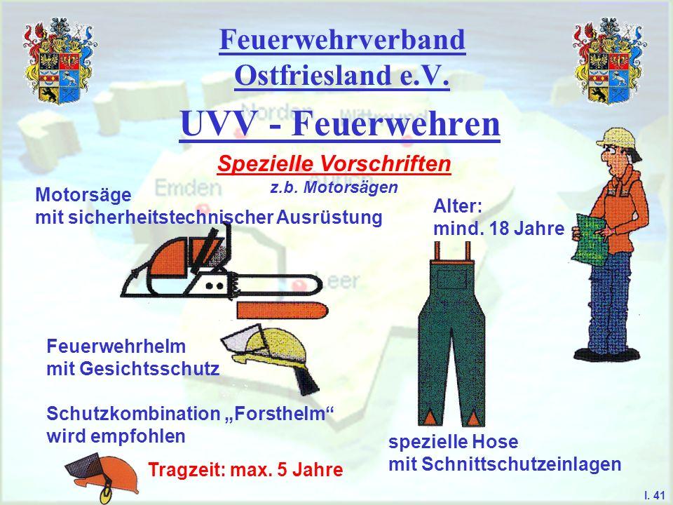 Feuerwehrverband Ostfriesland e.V. UVV - Feuerwehren Spezielle Vorschriften z.b. Motorsägen Motorsäge mit sicherheitstechnischer Ausrüstung Feuerwehrh