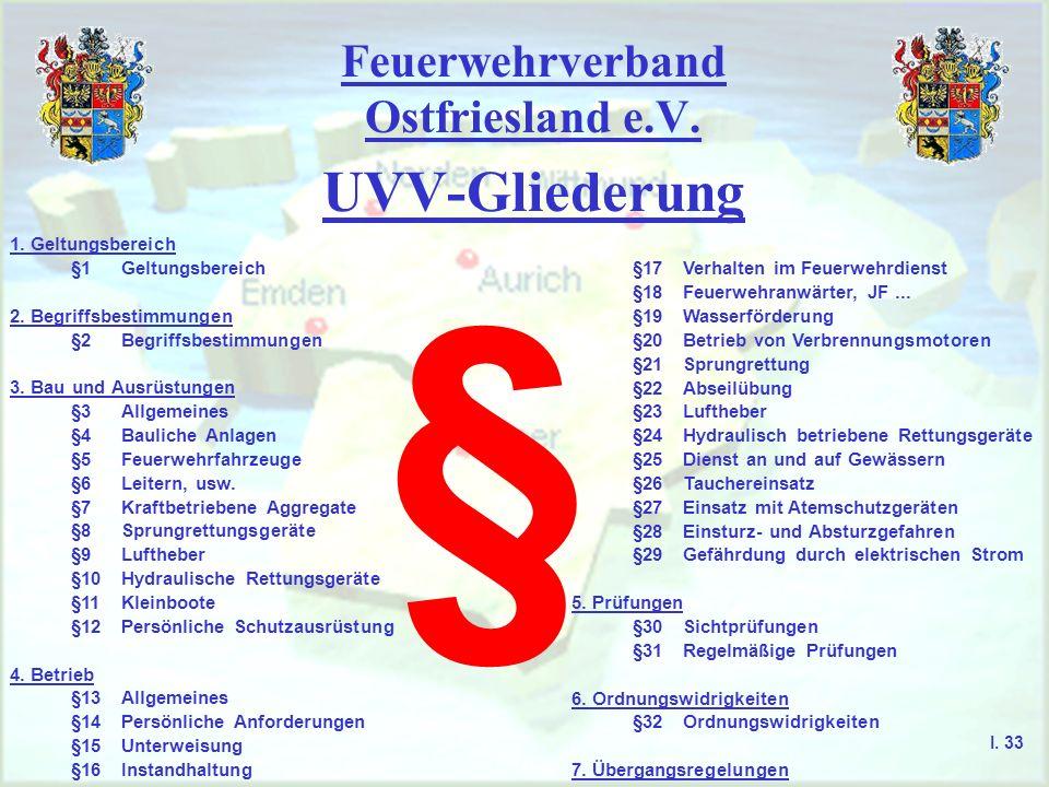 Feuerwehrverband Ostfriesland e.V. UVV-Gliederung § 1. Geltungsbereich §1Geltungsbereich 2. Begriffsbestimmungen §2Begriffsbestimmungen 3. Bau und Aus