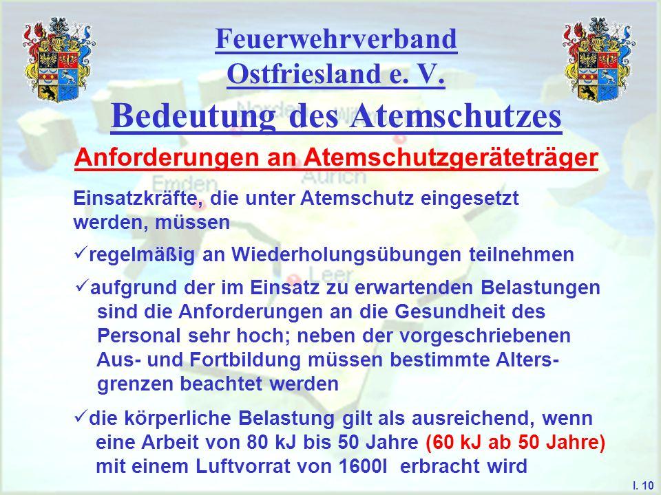 Feuerwehrverband Ostfriesland e. V. Bedeutung des Atemschutzes I. 10 Anforderungen an Atemschutzgeräteträger Einsatzkräfte, die unter Atemschutz einge