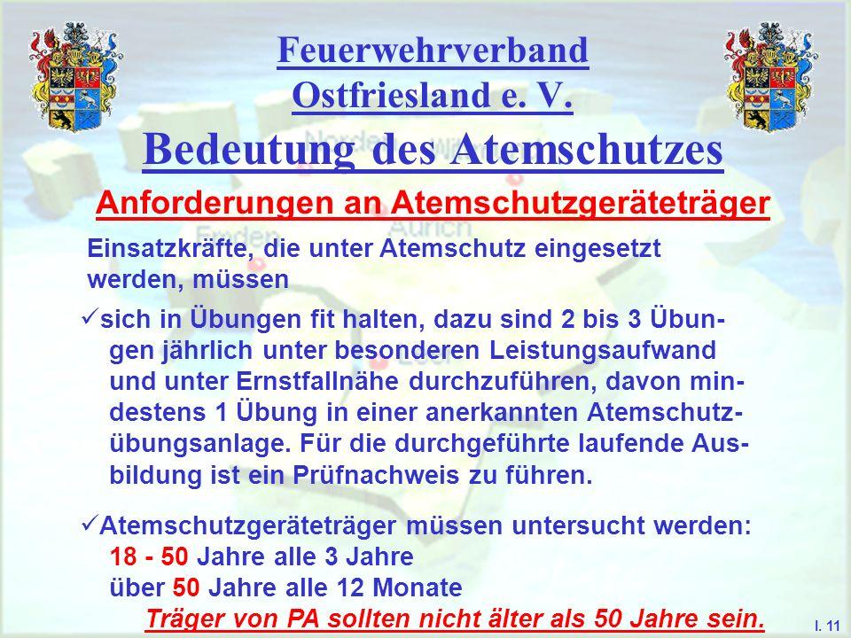 Feuerwehrverband Ostfriesland e. V. Bedeutung des Atemschutzes Anforderungen an Atemschutzgeräteträger Einsatzkräfte, die unter Atemschutz eingesetzt