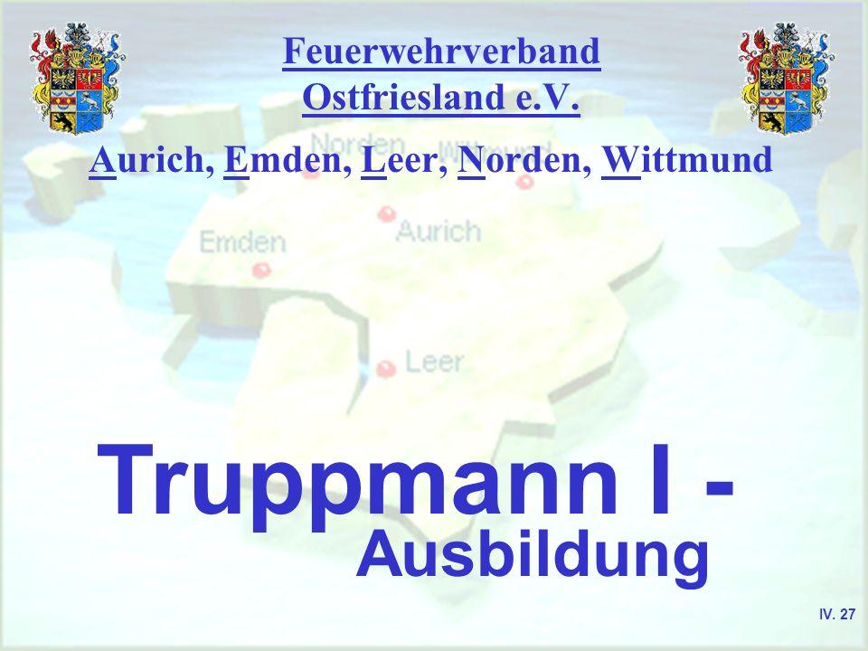 Feuerwehrverband Ostfriesland e.V. Aurich, Emden, Leer, Norden, Wittmund Truppmann I - Ausbildung IV. 27