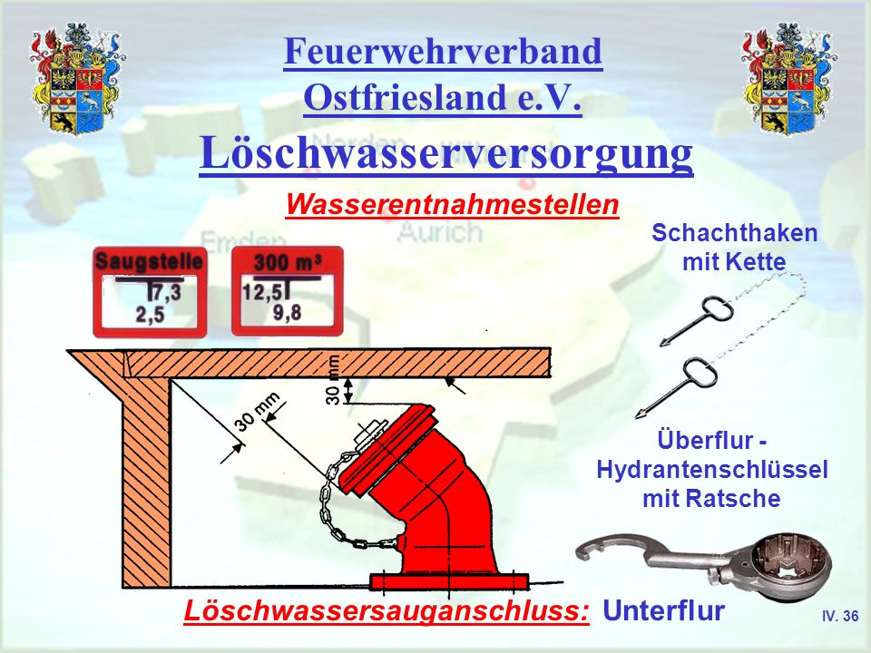 Feuerwehrverband Ostfriesland e.V. Löschwasserversorgung Wasserentnahmestellen Schachthaken mit Kette Überflur - Hydrantenschlüssel mit Ratsche Löschw