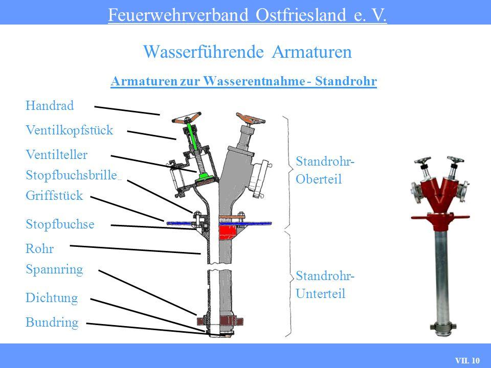 VII. 10 Armaturen zur Wasserentnahme - Standrohr Feuerwehrverband Ostfriesland e. V. Wasserführende Armaturen Standrohr- Unterteil Standrohr- Oberteil