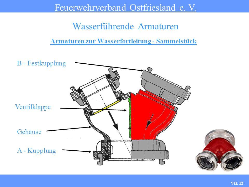 VII. 12 Armaturen zur Wasserfortleitung - Sammelstück Feuerwehrverband Ostfriesland e. V. Wasserführende Armaturen B - Festkupplung Ventilklappe Gehäu