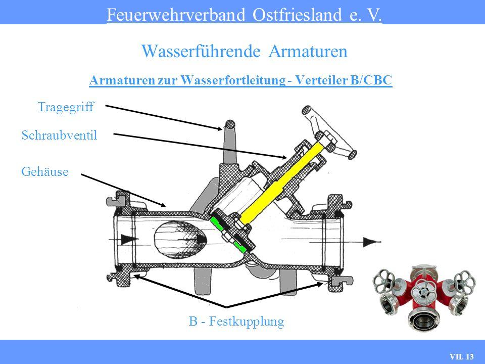 VII. 13 Armaturen zur Wasserfortleitung - Verteiler B/CBC Feuerwehrverband Ostfriesland e. V. Wasserführende Armaturen Tragegriff Schraubventil Gehäus