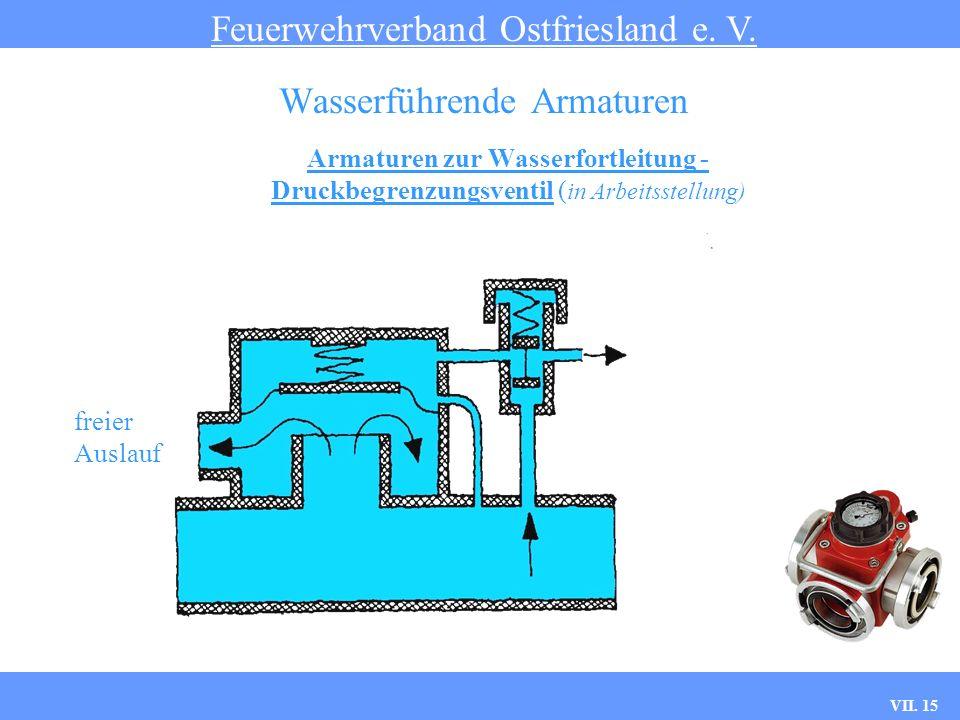 VII. 15 Armaturen zur Wasserfortleitung - Druckbegrenzungsventil ( in Arbeitsstellung) Feuerwehrverband Ostfriesland e. V. Wasserführende Armaturen fr