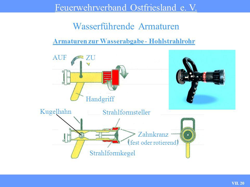 VII. 20 Armaturen zur Wasserabgabe - Hohlstrahlrohr Feuerwehrverband Ostfriesland e. V. Wasserführende Armaturen AUF ZU Handgriff Kugelhahn Strahlform