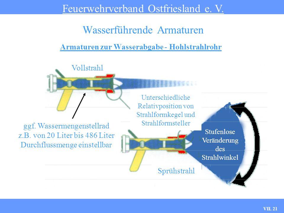VII. 21 Armaturen zur Wasserabgabe - Hohlstrahlrohr Feuerwehrverband Ostfriesland e. V. Wasserführende Armaturen Vollstrahl Sprühstrahl Unterschiedlic