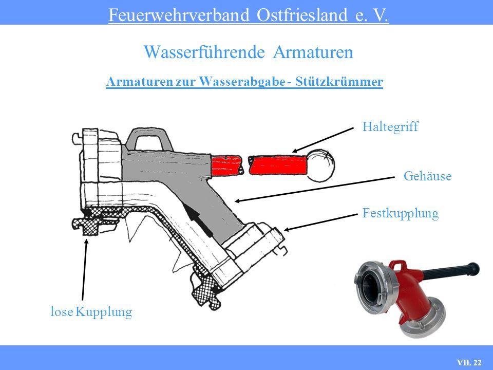 VII. 22 Armaturen zur Wasserabgabe - Stützkrümmer Feuerwehrverband Ostfriesland e. V. Wasserführende Armaturen Haltegriff Festkupplung Gehäuse lose Ku