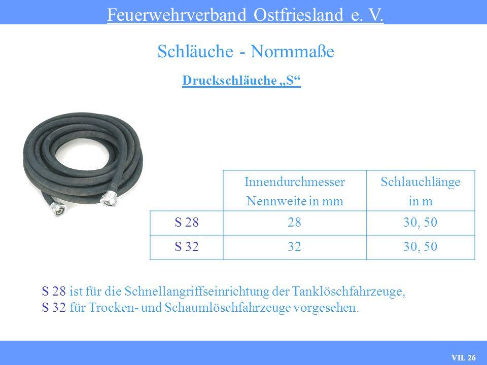 VII. 26 Druckschläuche S Feuerwehrverband Ostfriesland e. V. Schläuche - Normmaße Innendurchmesser Nennweite in mm Schlauchlänge in m S 282830, 50 S 3