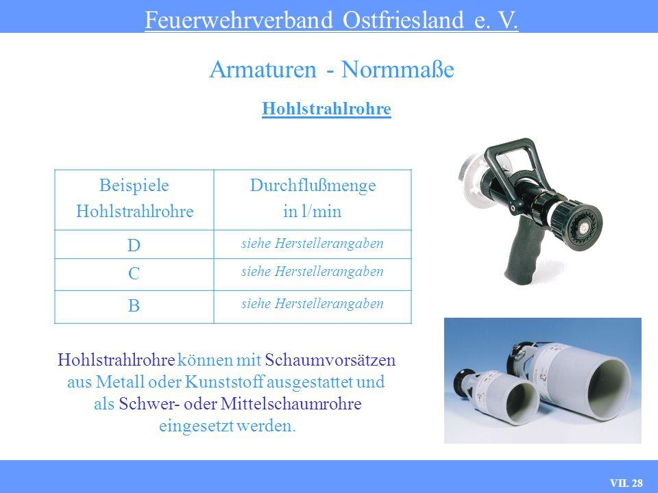 VII. 28 Hohlstrahlrohre Feuerwehrverband Ostfriesland e. V. Armaturen - Normmaße Beispiele Hohlstrahlrohre Durchflußmenge in l/min D siehe Herstellera