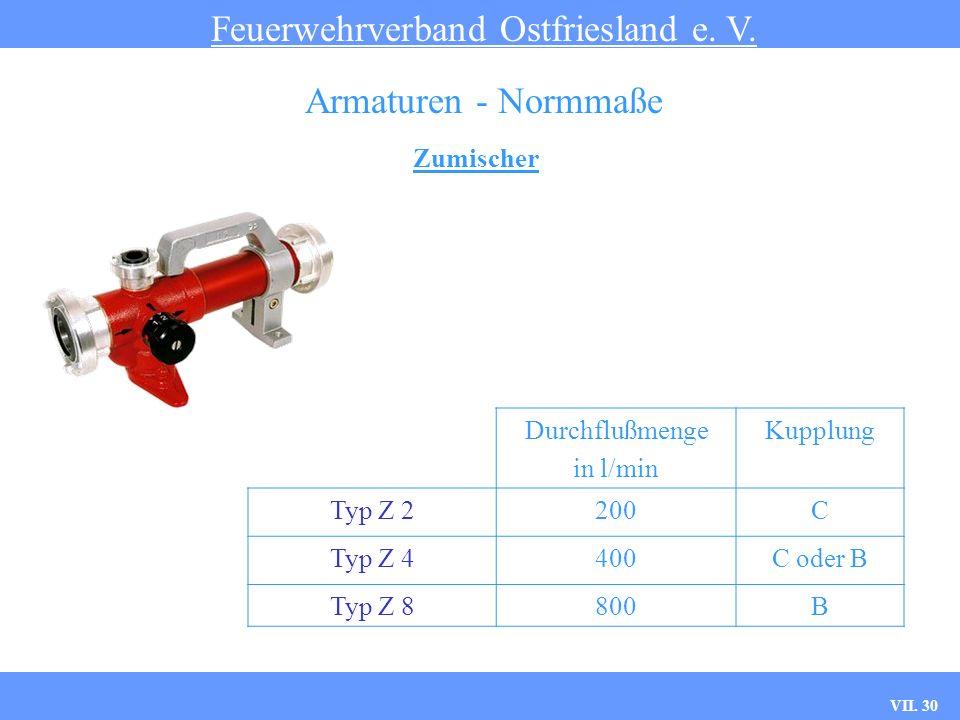 VII. 30 Zumischer Feuerwehrverband Ostfriesland e. V. Armaturen - Normmaße Durchflußmenge in l/min Kupplung Typ Z 2200C Typ Z 4400C oder B Typ Z 8800B