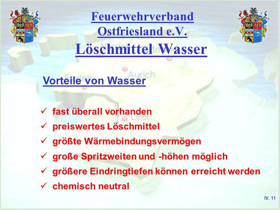 Feuerwehrverband Ostfriesland e.V. Löschmittel Wasser Vorteile von Wasser fast überall vorhanden preiswertes Löschmittel größte Wärmebindungsvermögen