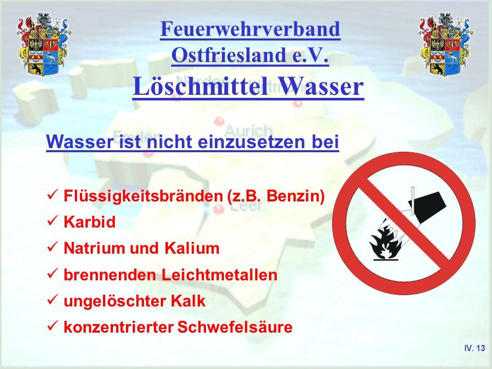 Feuerwehrverband Ostfriesland e.V. Löschmittel Wasser Wasser ist nicht einzusetzen bei Flüssigkeitsbränden (z.B. Benzin) Karbid Natrium und Kalium bre