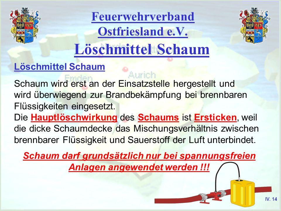 Feuerwehrverband Ostfriesland e.V. Löschmittel Schaum Schaum wird erst an der Einsatzstelle hergestellt und wird überwiegend zur Brandbekämpfung bei b