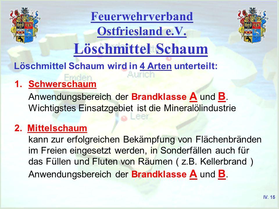 Feuerwehrverband Ostfriesland e.V. Löschmittel Schaum Löschmittel Schaum wird in 4 Arten unterteilt: 1.Schwerschaum Anwendungsbereich der Brandklasse