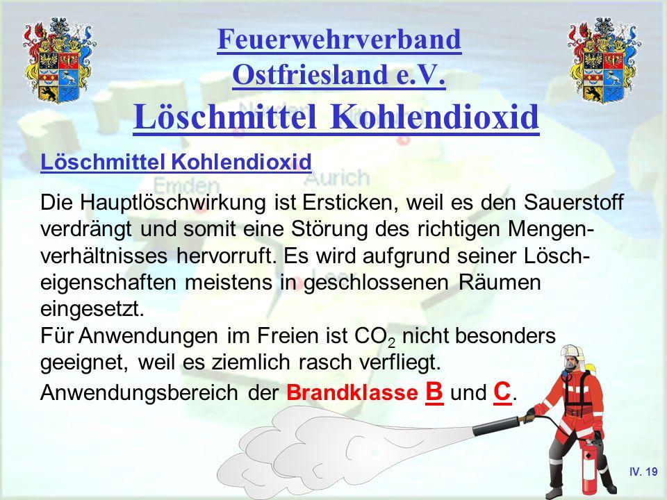 Feuerwehrverband Ostfriesland e.V. Löschmittel Kohlendioxid Die Hauptlöschwirkung ist Ersticken, weil es den Sauerstoff verdrängt und somit eine Störu